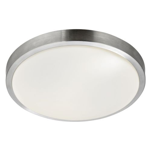 Led Bathroom - Ip44 1 Light Flush, Aluminium Trim With Acrylic White Shade, Dia 33Cm 6245-33-Led